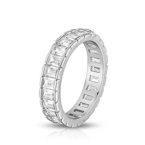 Chamonix Jewelry Womens White Gold Plated Lustrous Eternity Ring- Beautifully Crafted Eternity Ring with Emerald Cut Cubic Zirconia Stones (6) ()