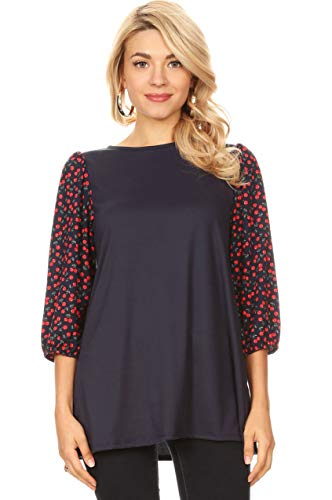 Womens Reg and Plus Size Printed 3/4 Sleeve Tunic for Women (Size X-Large, Navy Red Cherries Sleeve) ()