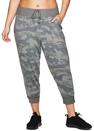 RBX Active Women's Plus Size Camo Print Jogger Capri Pant Camo Olive 2X (Rbx Active Womens Fleece Cuffed Jogger Sweatpants)