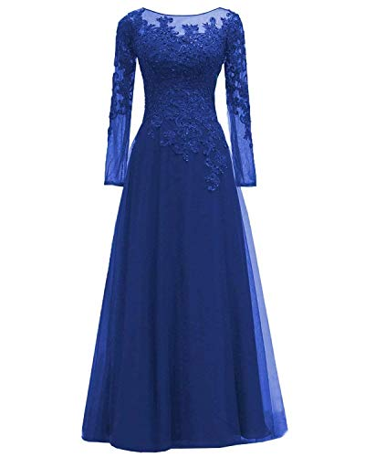 - Women's Lace Appliques Mother of The Bride Dress Tulle Long Sleeves Evening Prom Gown BeadedRoyal Blue 18 Plus