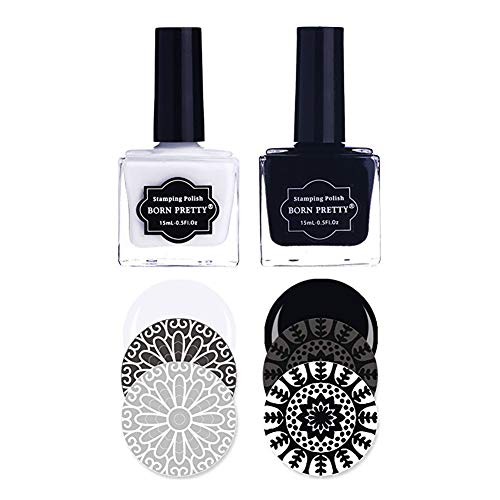BORN PRETTY 2 Bottles Nail Art Stamping Polish Pure White Black Manicuring Image Print Polish Varnish 15ML (Best Nail Polish For Stamping)
