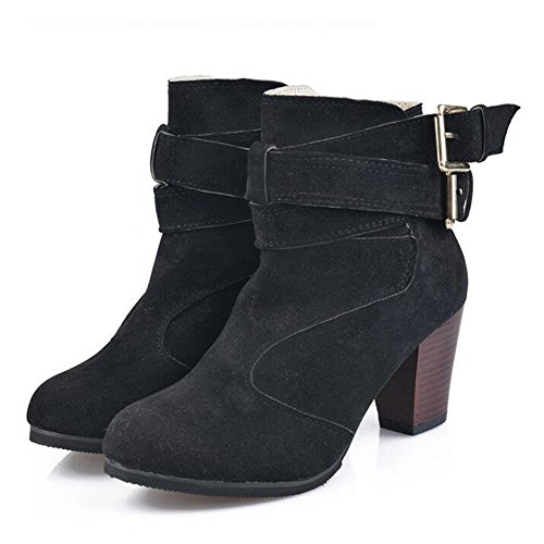 ANDAY Women's Nubuck Leather Rough Heels Ankle Boots With Buckle Black wE3xmTViYm