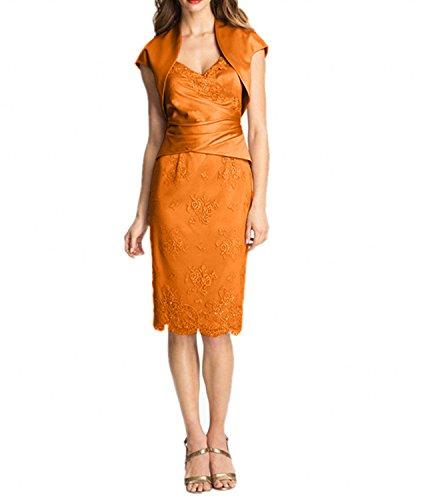 Knielang Spitze Rosa mit Brautmutterkleider Charmant Kurzarm Damen Bolero Abendkleider Partykleider Orange tPxFEwfF