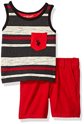 Mix Match Clothes (U.S. Polo Assn. Baby Boys Tank and Short Set, Striped Pocket Tee Red Short Red, 3-6 Months)