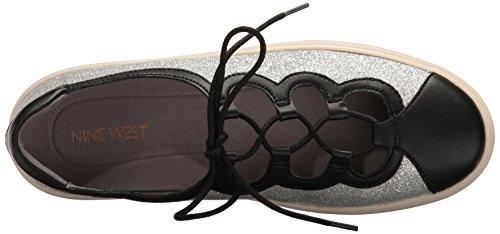 Pylot Women's Fashion West Nine Patent Silver Sneaker Black zqvHSfw