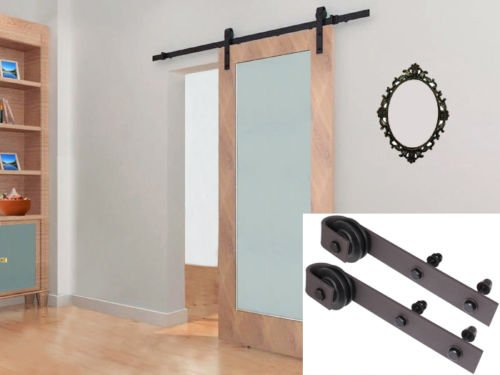 Tamsun 6.6Ft Dark Coffee Rustic Steel Sliding Barn Wood Door Hardware Track Set Kit