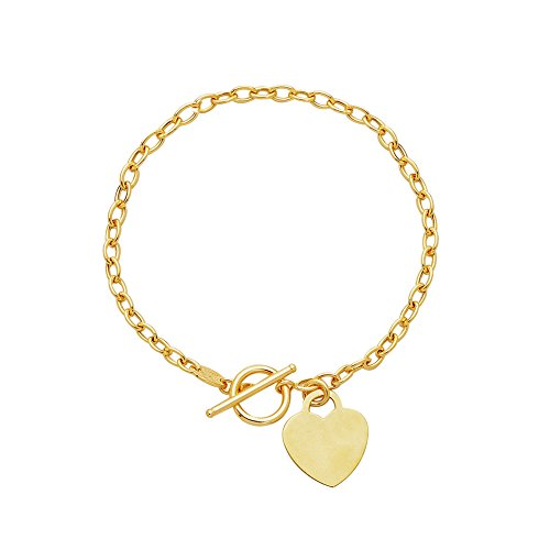 MCS Jewelry 14 Karat White Or Yellow Gold Small Heart Dangle Charm Bracelet 7.5