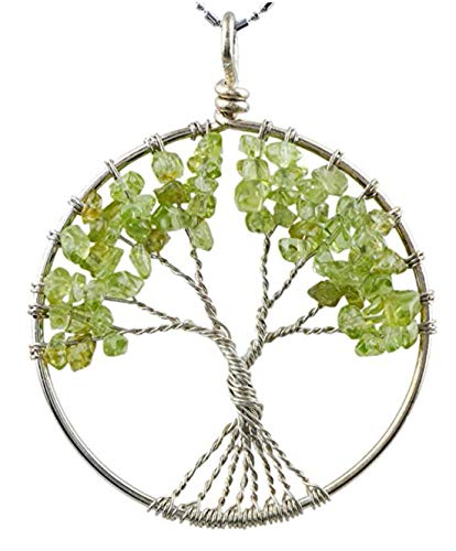 Tree of Life Natural Peridot Gemstone Pendant Necklace Healing Crystals Chakra Gem Stone 26 inch Great Gift ()