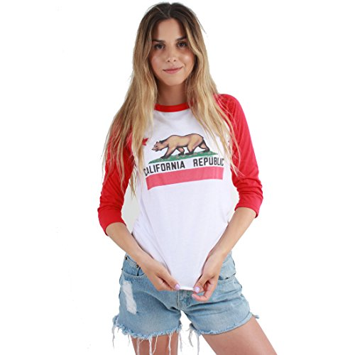 California Republic Unisex Baseball Jersey T-Shirt Red X Large