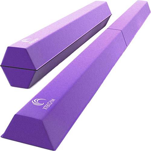 XTEK Gym 8ft Pro Foldable Balance Beam, Extra Long Floor Gymnastics Beam | Lightweight, Heavy Duty Foam | Home Training Gymnastics Equipment for Kids Adults (Purple)