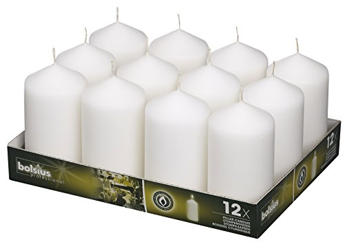 BOLSIUS Set of Wedding Pillar Candles White 12Pk. 128 X 68mm (aprox 2.7x5 inch)