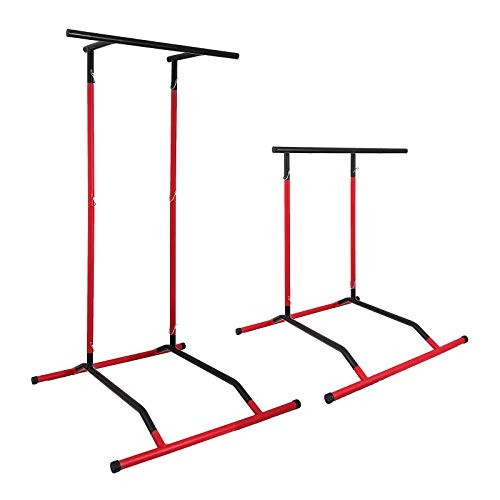 Popsport 330LBS Pull Up Dip Station Power Tower Station Multi-Station Power Tower Workout Pull Up Station with Carry Bag for Home Fitness Black Red