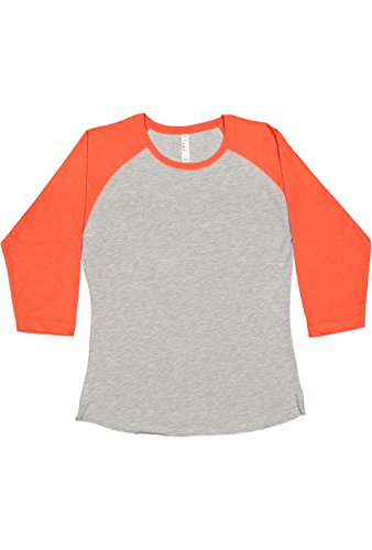 LAT Ladies' Fine Jersey Raglan 3/4 Sleeve Baseball Tee (Vintage Heather/Vintage Orange, XX- -
