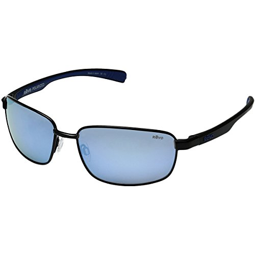Revo Sunglasses Revo Shotshell Polarized Rectangular Sunglasses, Black/Blue Water, 60 - Buy A Donate A Pair Pair Sunglasses