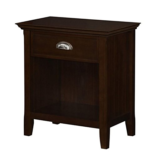 Simpli Home Acadian Solid Wood Bedside Table, Tobacco Brown,