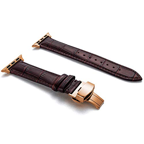 Compatible with Apple Watch Band 38mm 42mm, Genuine Leather Watch Strap for Apple Watch Band Series 4 Series 3 Series 2 Series 1, Sport/Edition Women Men (Dark Brown/Rose Gold Clasp, 38mm/40mm)