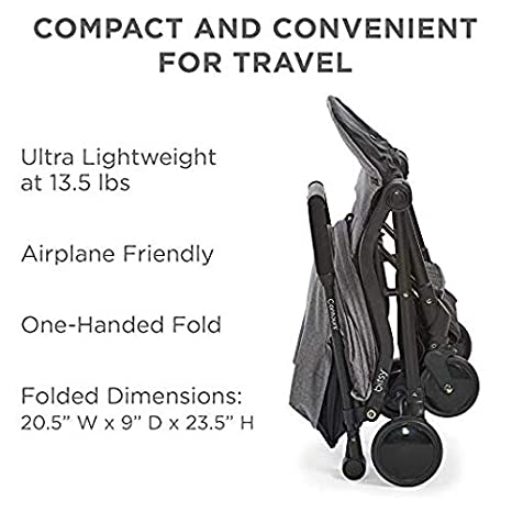 Granite Gray//Black Contours Bitsy Compact Fold Lightweight Travel Stroller Convenient Collapsible and Water-Resistant Bitsy Travel Bag//Carrying Case