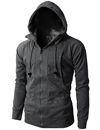 H2H Mens Fashionable Casual Slim Fit Hoodie Jersey Zip up CHARCOAL US XL/Asia XXXL (KMOHOL019)