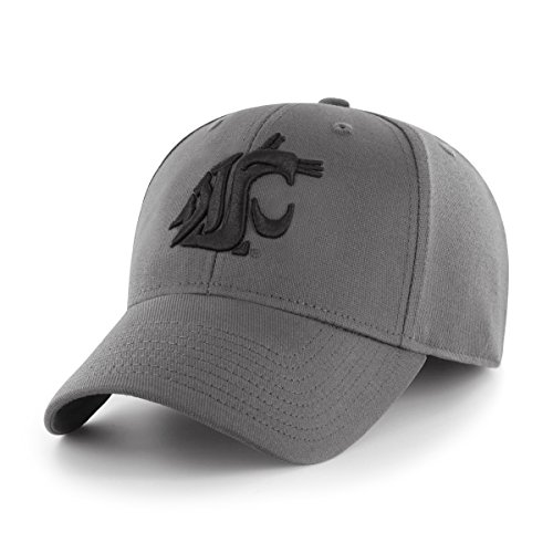 Washington State Cougars Fitted Cap - OTS NCAA Washington State Cougars Comer Center Stretch Fit Hat, Charcoal, Medium/Large