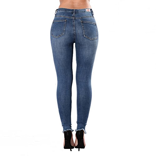 Stretch Pantalones Denim Slim Hole Darkblue Mujeres Jeans Cintura De De Alta MYX Las Legging 4qxZ1Cqwf