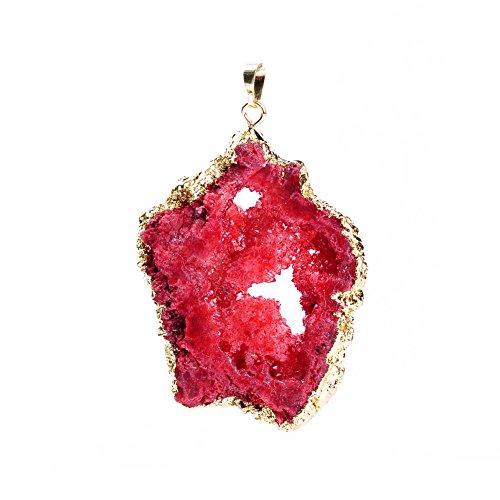 Rui Long Necklace Pendant Semi-precious Irregular Geode Druzy Stone Agate Pendant Gold Side ()
