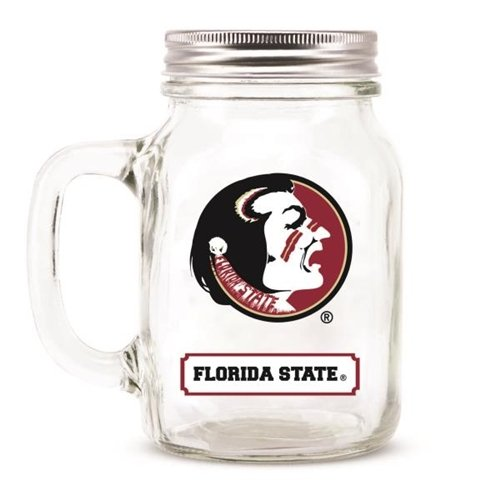 Hall of Fame Memorabilia Florida State Seminoles Mason Jar Glass with Lid ()