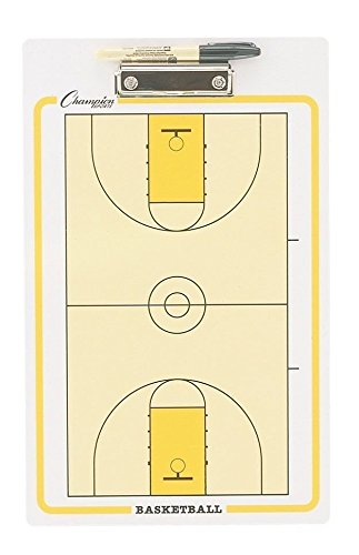 Champion Sports Large Dry Erase Board For Coaching Basketball - Whiteboards for Strategizing, Techniques, Plays - 2-Sided Boards with Clip - Front Side Full Court - Backside Half Court and Lineup