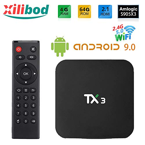 Xilibod Android 9.0 TV Box 4GB RAM/64GB ROM, Amlogic S905X3 64-bit Quad core ARM, G31 MP2 GPU Processor,H.265 Decoding 2…