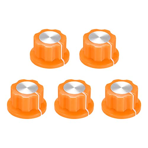 uxcell 5pcs 6.4mm Shaft Hole Potentiometer Volume Control Rotary Knobs Effect Pedal Knobs Orange
