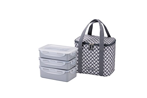 Gray Darts - LocknLock Clover 3-Tier Lunch Box Set with Bag & Cool Pack (Dart Gray)