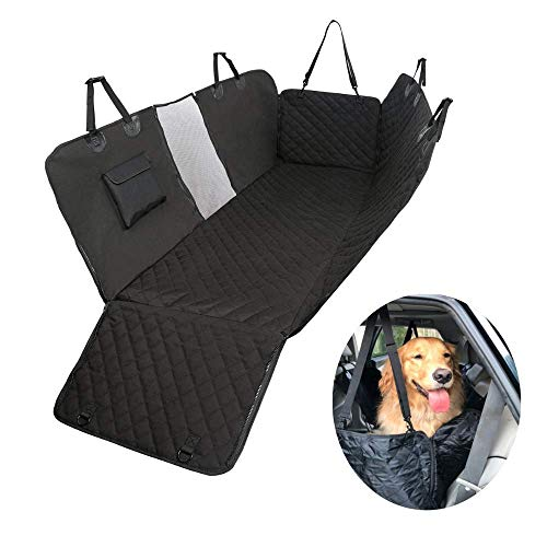Skye Blue Pets Premium Dog Car Seat Cover,Rear Car Seat Protector, Scratch-Proof, Non-slip, Waterproof Hammock, Adjustable Cover for Back Seat, Black, 53