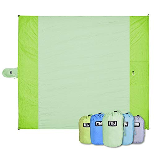 MIU COLOR Beach Blanket Mat Oversized 80'' x 70'' Sand Free Waterproof Compact Quick Drying Lightweight Folding and Durable for Outdoor Camping Hiking Grass Travel (Light Green 80'' x 70'') (Trunk Grand Parasheet)