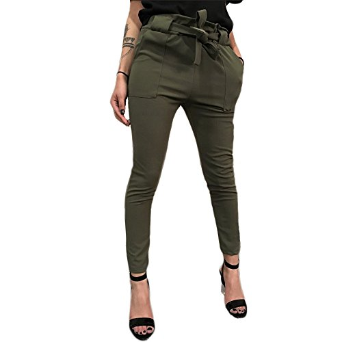 Women's High Waist Pants Trouser Slim Straight Leg Casual Harem Bandage Yoga Pants with Pockets (Army Green -3, XL) ()