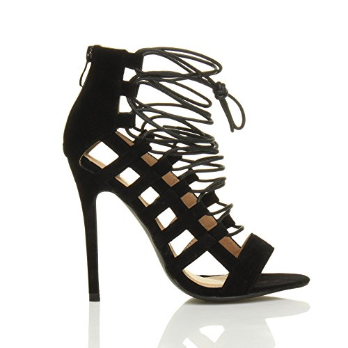 Black Women Ajvani High Sandals Ghillie Shoes Suede Size Heel Bxv0H