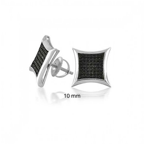 Black Square Kite Shaped CZ Micro Pave Cubic Zirconia Stud Earrings For 925 Silver Screwback 10mm