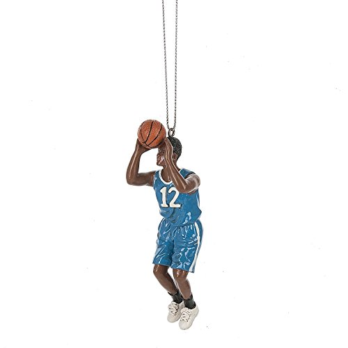 Teen Basketball Player Blue 1 x 4 Inch Resin Christmas Ornament Figurine