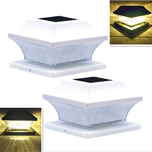 Solar Post Cap Lights Outdoor Vinyl White Lantern for 4x4 5x5 Wood or PVC Posts Sogrand Bright 15 Lumens Fence Light Warm White LED Deck Lighting Waterproof 5  Root Porch Caps Lamp Dusk to Dawn 2Pack [並行輸入品] B07R8PWB2H