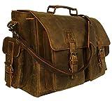 A&C 16 inch Retro Buffalo Hunter Leather Laptop Messenger Bag Office Briefcase College Bag
