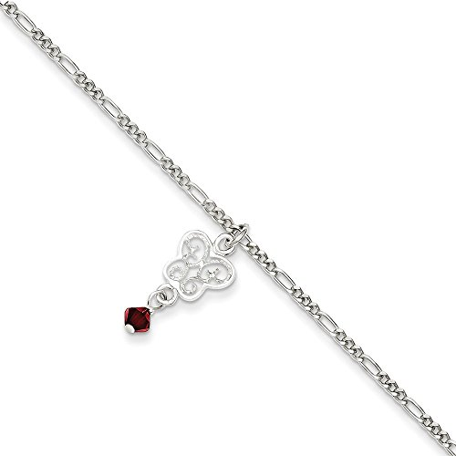Roy Rose Jewelry Sterling Silver Dark Pink Crystals and Dangling Butterflies Anklet 9'' - Sterling Anklet Silver Butterfly 9'