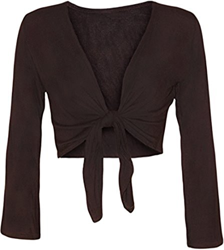 coprispalle Fashion Brown Nodo Unita Lunghe Cardigan Front Tinta Maniche essentials Tie elasticizzato womens Top BTqxwrvOB