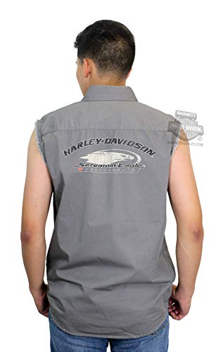 Harley-Davidson Mens Screamin Eagle Enzyme Wash Charcoal Sleeveless Blowout 96289-18VM (Medium)