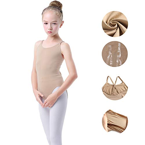 (Girls Nude Leotard Seamless Camisole Undergarment for Dance Ballet Gymnastics with Clear Straps for Toddler/Girls (Nude, L(5-8 years)))