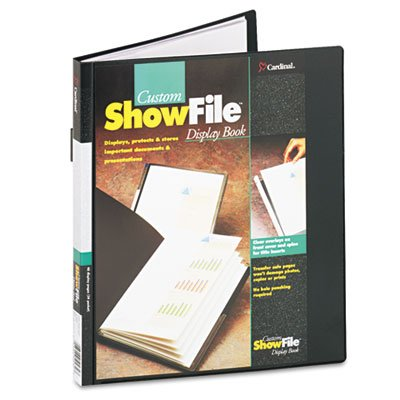 Showfile Display Book Letter - ShowFile Display Book w/Custom Cover Pocket, 24 Letter-Size Sleeves, Black, Sold as 2 Each