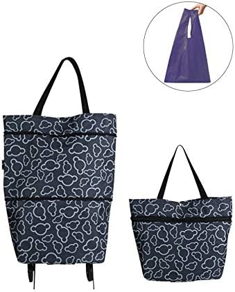 Black lightweight Capability with Durability Heavy Duty Beefy Wheels Collapsible Trolley Bags Folding Shopping Bag with Wheels Reusable Grocery Bags Fashion Rolling Shopper Tote