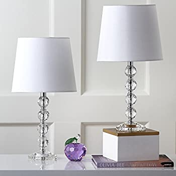Quad Modern Table Lamps Set Of 2 Clear Stacked Crystal