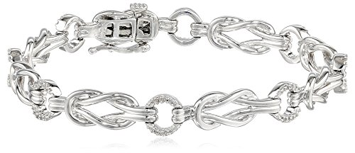 Sterling Silver Diamond Knot Bracelet (1/4 cttw, I-J Color, I2-I3 Clarity), 7.25″
