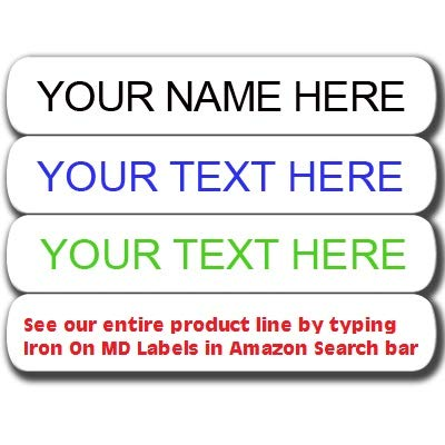 Iron On Clothing Labels - White - Qty 120 - Personalized with Your Name! Your Choice of Ink Color.