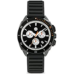 Mercedes Benz Men's Chronograph Watch with Black Silicone Strap and Black Dial