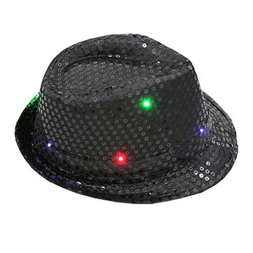 Ganenn Unisex Sequin Hat, LED Light-up Glitter Fedora Hat Dress Up Party Cap Men Women (Black)