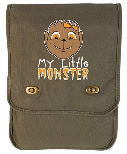 Tenacitee My Little Monster Wolf Girl Khaki Green Canvas Field Bag]()